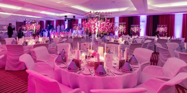 Set tables in the Otto Mach banquet hall