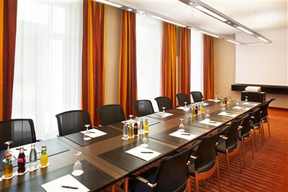 Seminar room with block seating and drinks on the tables