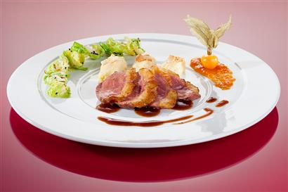 Duck breast with side dishes in detail